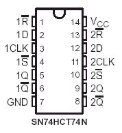 here's the pinout of the 74hct74n, a dual d-type flip-flop  note that the  'dual' designation means that two flops come on one chip